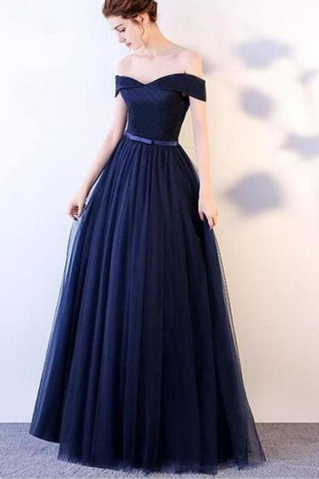 Charming Royal Blue Long Prom Dress,Off Shoulder Party Dress,Floor Length Tulle Evening Dress,Lace Up Prom Gown