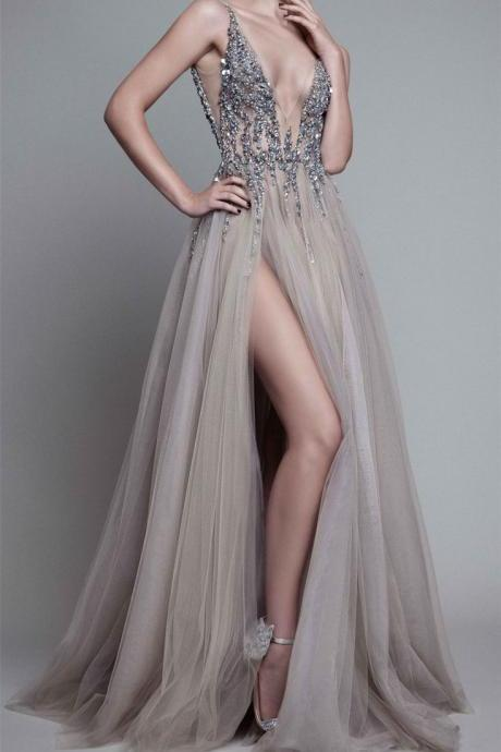 Beading Prom Dress,Deep V-Neck Prom Dresses,Sleeveless Prom Gown,Sexy Prom Dress,Tulle Prom Dress,Long Prom Dress,New Arrival Prom Dresses 2018,Prom Dresses