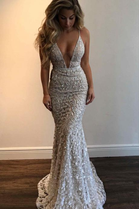 Unique Shining Beaded Prom Dress,Sexy Spaghetti Straps V-Neck Prom Evening Dress,Mermaid Silver Prom Gown,Vestidos