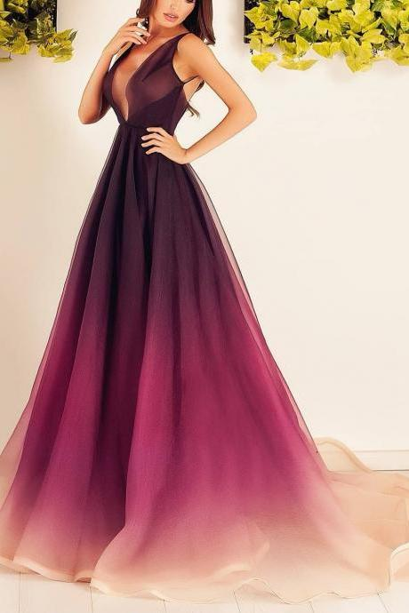 2018 A Line Prom Dress Modest Cheap Long Ombre Prom Dress