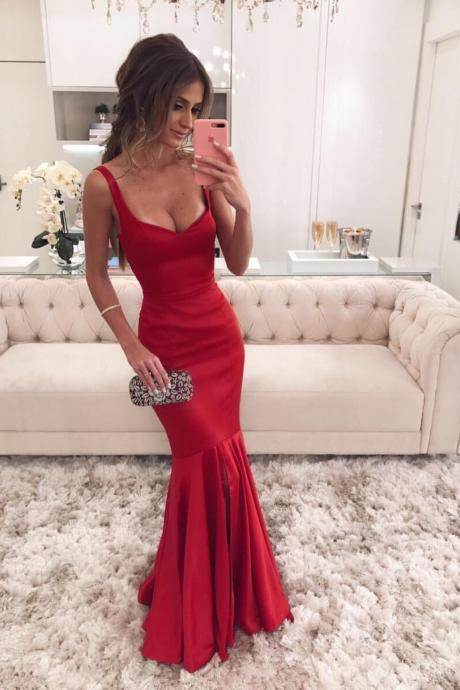 Maroon Satin V-neck Corset Mermaid Evening Dresses 2018