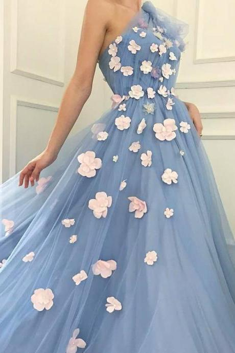One Shoulder Tulle Prom Dress, Charming A-Line Applique Prom Dress