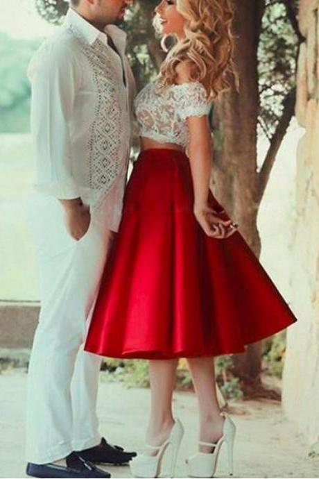 Short Sleeve Homecoming Dresses, Red Short Sleeve Homecoming Dresses, Two Piece Prom Dresses, 2017 Homecoming Dress Tea-length Short Sleeve Short Prom Dress Party Dress