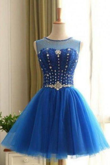 On Sale Short Prom Party Dress Beautiful Royal Blue Homecoming Dresses With Round Lace Up Rhinestone Dresses