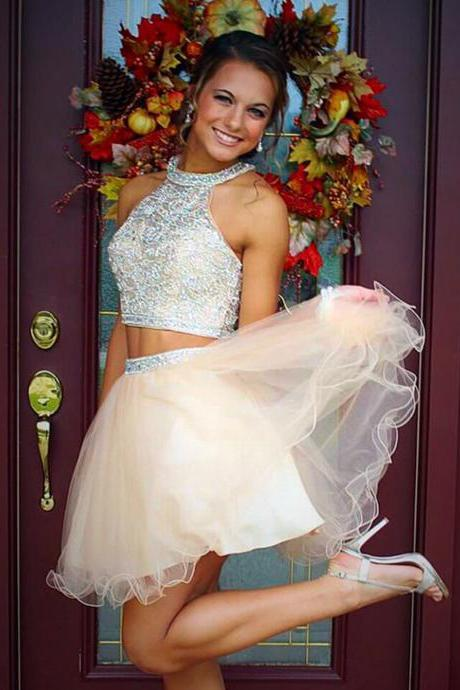 Elegant Homecoming Dresses With Beading,Two Piece Tulle Prom Dresses