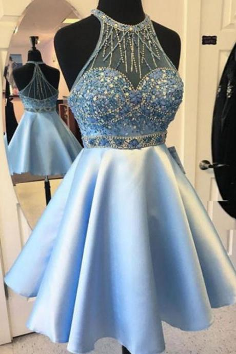 Cheap Light Blue Homecoming Prom Dress Popular Short Homecoming Dresses With A-line/Princess Side Zipper Beaded/Beading Dresses