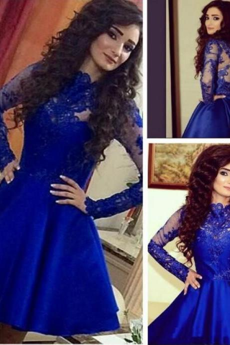 Royal Blue Long Sleeve Lace Pretty Knee Length Cheap Short Graduation Homecoming Dress