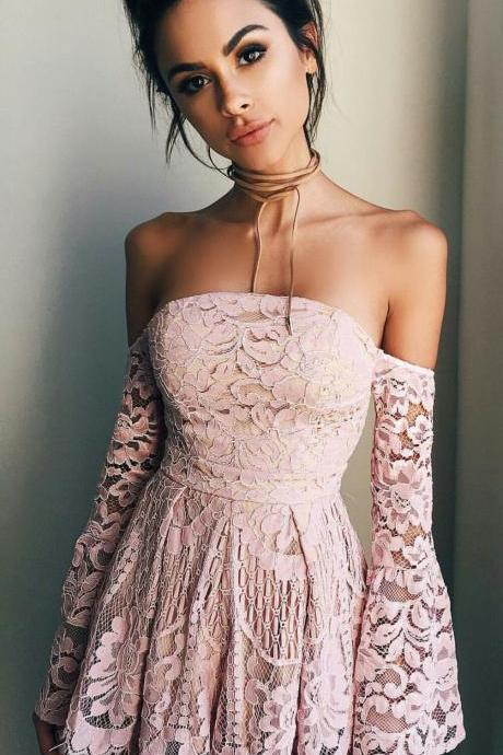 2018 Cute Pink Lace Mini Homecoming Dress,Off The Shoulder Short Prom Dress,Sexy Sheath Graduation Dress