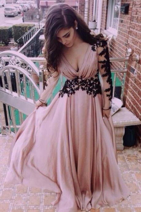 2018 Hot Sale Pink Prom Dress,Long Sleeves with Black Appliques,Sexy V-neck Evening Long Dress,Chiffon Floor Length Prom Gown