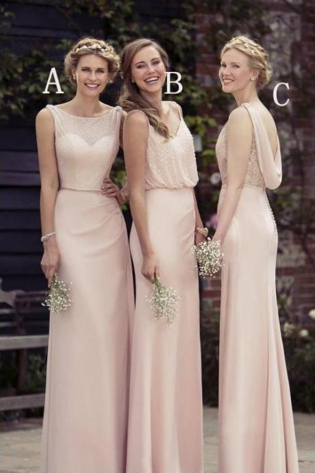Pink A-line/Princess Bridesmaid Dresses, Long Pink Prom Dresses, Sexy Chiffon A-Line 2018 Cheap Pink Bridesmaid Dresses,Long Bridesmaid Gowns