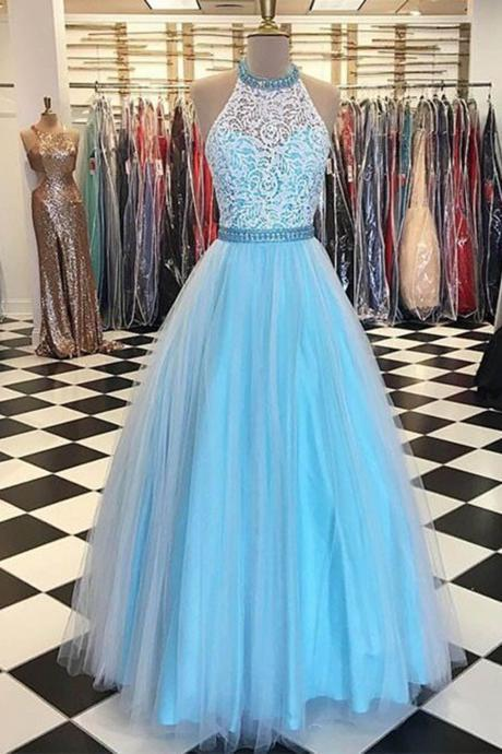 A Line Halter Lace Bodice Prom Gown,Long Tulle Sleeveless Long Evening Dresses,Formal Dress