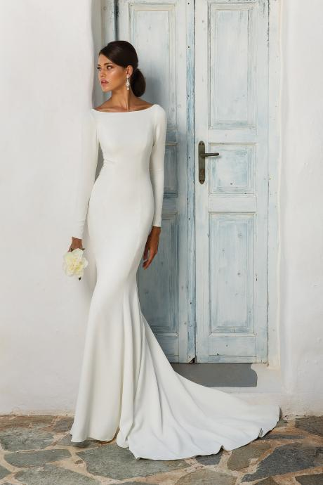 Bateau White Satin Mermaid Wedding Dress with Long Sleeves and Open Back