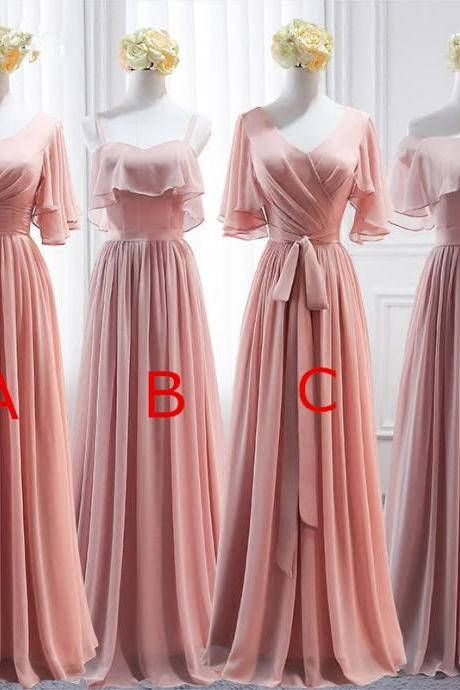 Pink Long Chiffon Bridesmaid Dress,Mismatched Wedding Party Dresses, Cute Formal Dress, Chiffon Long Gowns