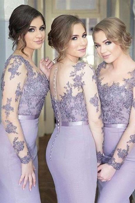 2018 Long Sleeves Mermaid Scoop Lilac Custom Bridesmaid Dresses , Wedding Party Dresses