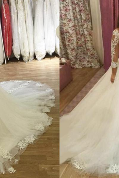 New Arrival Elegant V-neck Long Sleeve A Line Lace Wedding Dresses Appliques Court Train Wedding Bridal Gowns Wedding Dress