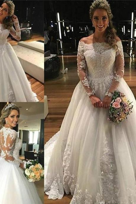 Vintage Ball Gown Wedding Dresses Lace Applique Off Shoulder Long Illusion Sleeves Pleats Tiered Tulle Court Train Wedding Bridal Gowns