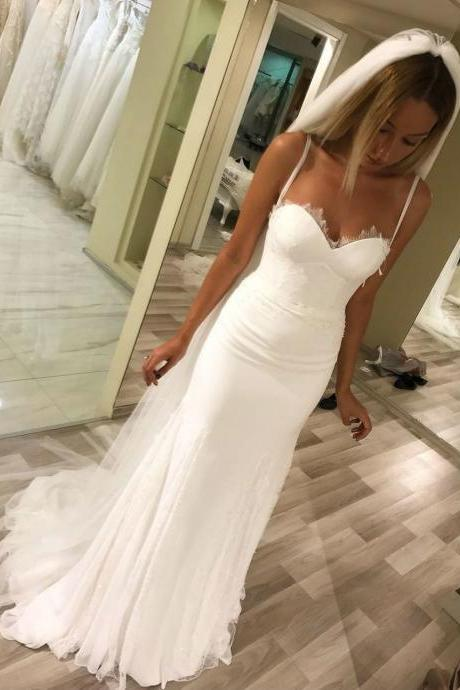 simple mermaid wedding dresses with lace, country beach bridal gowns, classic trumpet wedding dresses