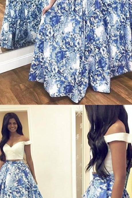 Two Piece Off-the-Shoulder Blue Floral Satin Prom Dress