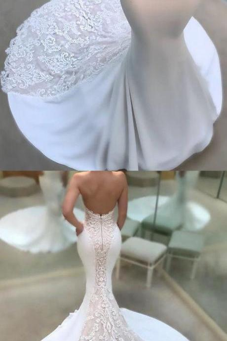 2018 mermaid long wedding dress, sweetheart white long wedding dress, bridal gown
