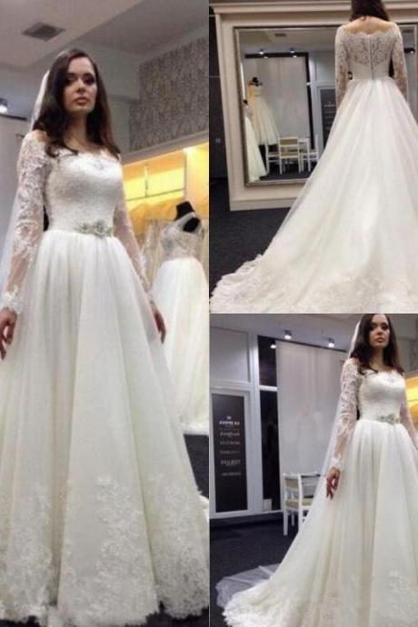 2018 Sheer Lace Vestidos De Noiva Wedding Dresses with Long Sleeves Scoop Neck Beaded Waist Appliques Tulle Court Train Bridal Gowns