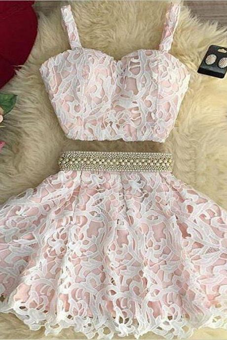 Cute Lace Two Pieces Homecoming Dress,Spaghetti Straps Evening Gown,Mini Prom Dress