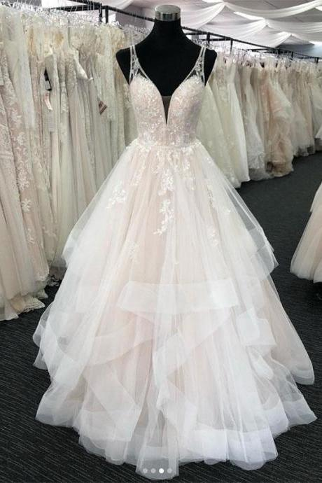Gorgeous Light Champagne Tulle Ruffles Lace Prom Dress,V-Neck Straps Formal Ball Dresses