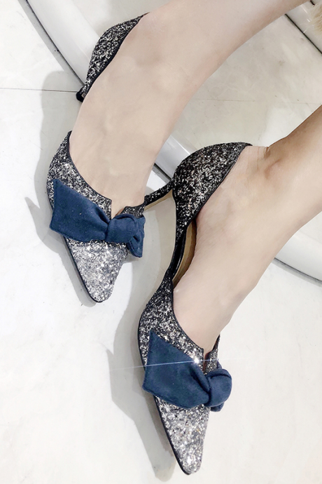 Spring and summer 2019 new sharp-headed hollow high-heeled, women single shoes, Korean version 100 tie fine heel Baotou women's shoes