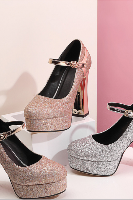 Sequined crystal thick heels, single shoe, waterproof platform, high heels, silver evening dress