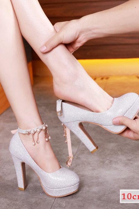 Wedding shoes, women 2019 new silver high heels ,wedding shoes ,thick waterproof platform bridal shoes, bridesmaids shoes